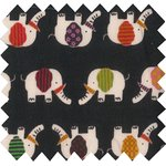 Cotton fabric black elephant - PPMC