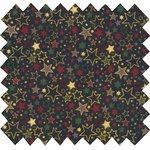 Tissu coton  etoiles multicolores marine - PPMC