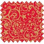 Tissu coton arabesques or rouge - PPMC
