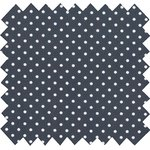 Cotton fabric pois blanc marine - PPMC