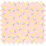 Cotton fabric pink yellow citrus - PPMC