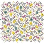 Cotton fabric yellow grey flowers - PPMC