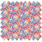 Cotton fabric orange and blue flowers - PPMC