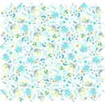 Cotton fabric green and white flowers - PPMC