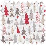 Cotton fabric grey red christmas tree ex1113 - PPMC