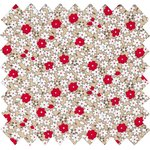Cotton fabric red flower - PPMC