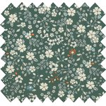 Cotton fabric fleuri kaki - PPMC