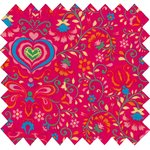 Cotton fabric red folk - PPMC