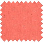 Cotton fabric gaze dentelle corail - PPMC