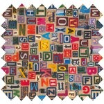 Cotton fabric multi letters - PPMC
