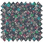 Cotton fabric green azure flower - PPMC