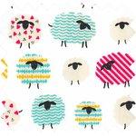 Cotton fabric multicolored sheep - PPMC