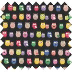 Cotton fabric multicolored owl - PPMC