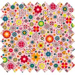 Cotton fabric pink meadow - PPMC