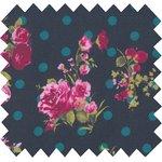 Cotton fabric navy dots rose bush - PPMC
