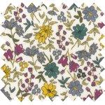 Tissu enduit  au mètre fleuri jaune gris crème ex1059 - PPMC