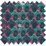Tissu enduit  au mètre fleurs géo vert fuchsia ex1072 - PPMC