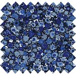 Coated fabric blue night flowers - PPMC