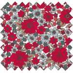 Coated fabric cherry-red daisy - PPMC
