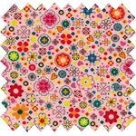 Coated fabric pink meadow - PPMC