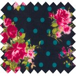 Coated fabric navy dots rose bush - PPMC