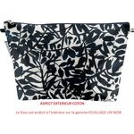 Cosmetic bag with flap chinese ink foliage  - PPMC