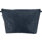 Cosmetic bag with flap silver straw jeans - PPMC