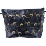 Cosmetic bag with flap kokeshis marine or  - PPMC