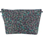 Cosmetic bag with flap green azure flower - PPMC