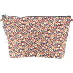Cosmetic bag with flap carnations jeans - PPMC