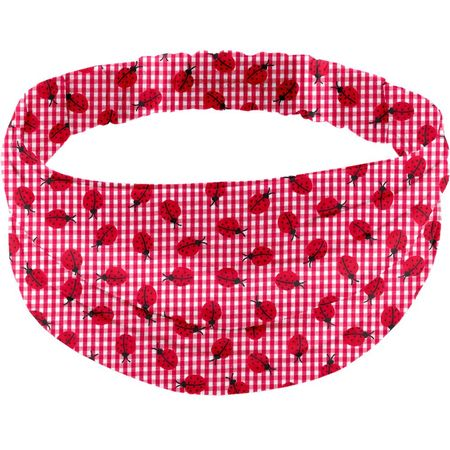 Turbantes para adulto cuadros vichy rojo y mariquitas