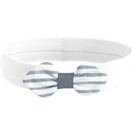 Jersey knit baby headband striped blue gray glitter