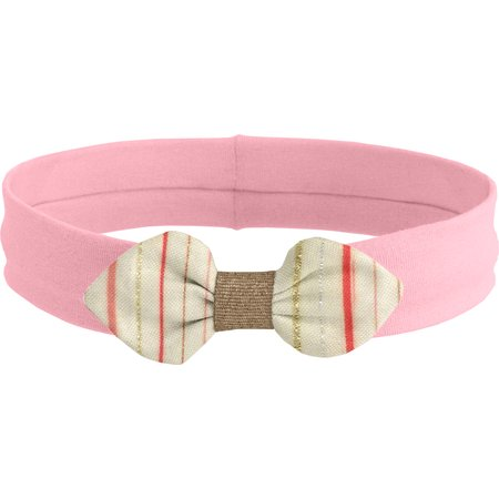Jersey knit baby headband silver pink striped