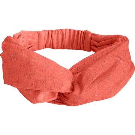 crossed headband gaze dentelle corail