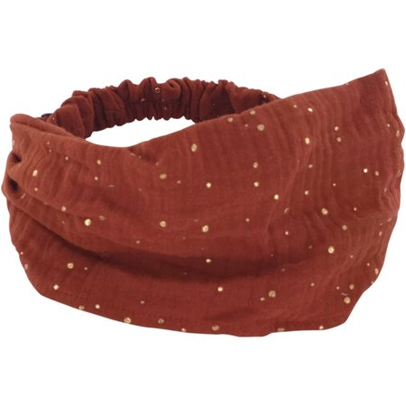 Bandeau fichu Bébé gaze terracotta or