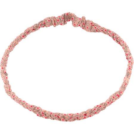 Bandeau tressé enfant mini fleur rose