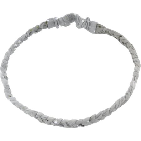 Plait hairband-adult size silver grey spots