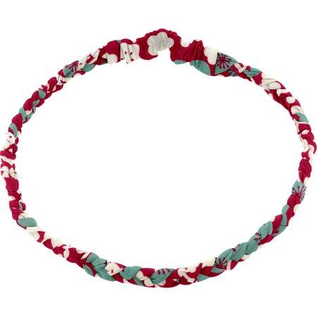 Bandeau tressé enfant cerisier rubis jade