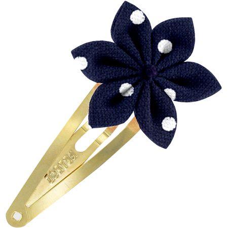 Barrette clic-clac fleur étoile pois marine