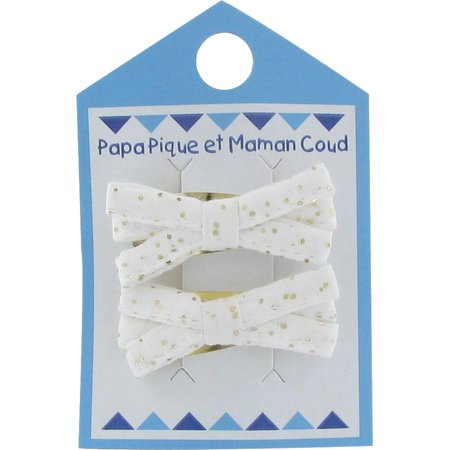 Small ribbons hair clips white sequined