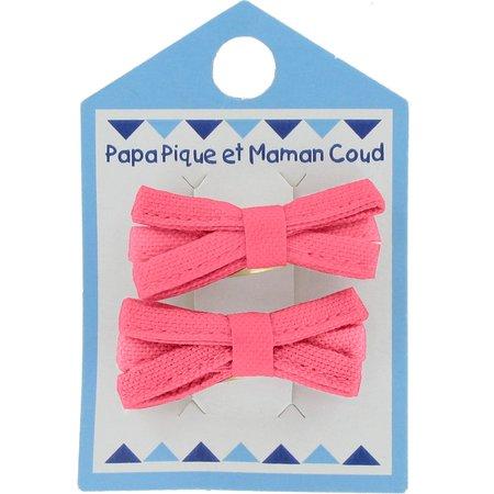 Small ribbons hair clips coral