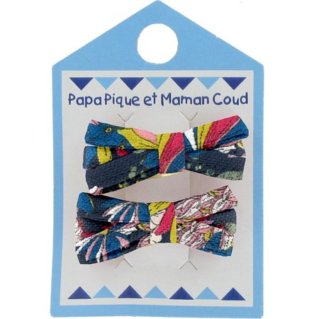 Small ribbons hair clips pink blue dalhia