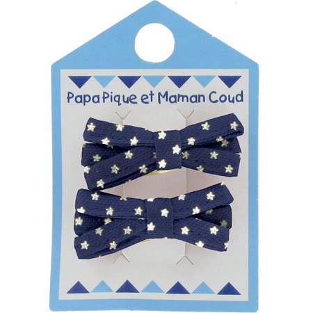 Barrette clic-clac mini ruban etoile marine or