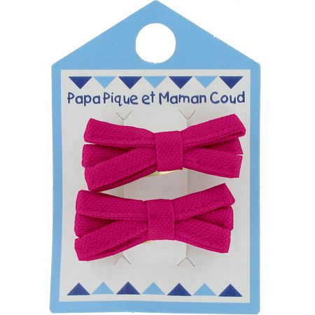 Small ribbons hair clips fuschia