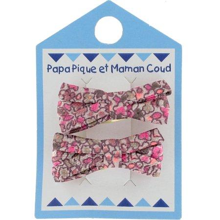 Barrette clic-clac mini ruban lichen prune rose