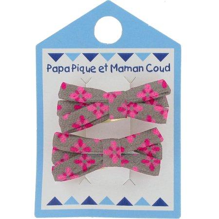 Barrette clic-clac mini ruban pétales gris rose