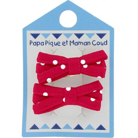Small ribbons hair clips red spots