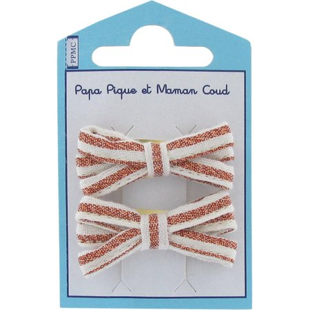 Small ribbons hair clips copper stripe