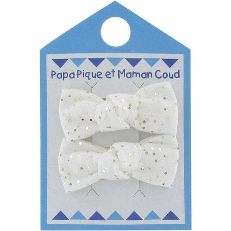 Small bows hair clips white sequined