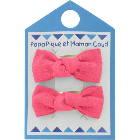 Small bows hair clips coral